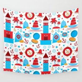 pattern with sea icons on white background. Seamless pattern. Red and blue Wall Tapestry