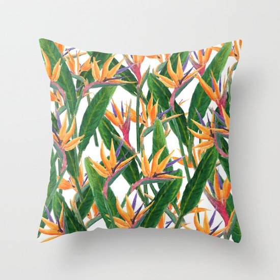 Bird Pattern Throw Pillows : bird of paradise pattern Throw Pillow by Color And Color Society6