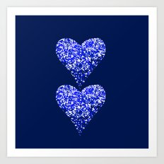 sparkling hearts blues Art Print