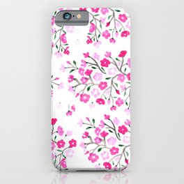 Pink Cherry Blossoms Hand Painted iPhone Case