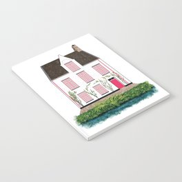 Pink and White House in Bruges Notebook
