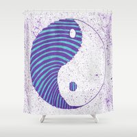 ying yang Shower Curtains featuring Ying Yang by Emma Thamer
