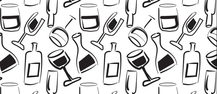 Wine Lovers Illustrated Wine Glasses and Wine Bottles Coffee Mug