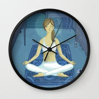 meditation Wall Clocks featuring Meditation by Anne Was Here