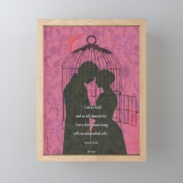 Jane Eyre - I'm No Bird Quote - Feminist Quotes. Framed Mini Art Print