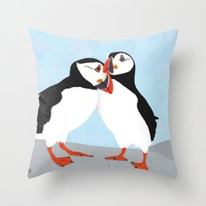 Puffin love you Throw Pillow