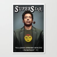 robert downey jr Canvas Prints featuring Robert Downey Jr. by Andrew Sebastian Kwan