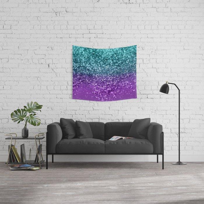 Purple Teal MERMAID Girls Glitter #1 #shiny #decor #art #society6 Wall Tapestry