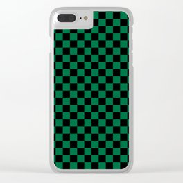 Black and Cadmium Green Checkerboard Clear iPhone Case