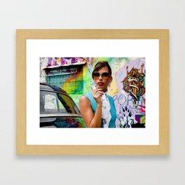 Woman and graffitti Framed Art Print