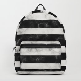 Black and White Marble Stripes Backpack