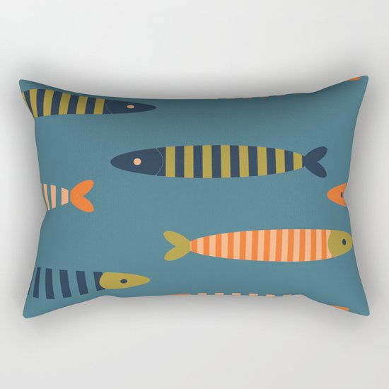 Striped fish pattern Rectangular Pillow