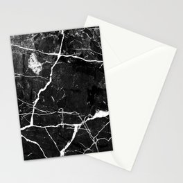 Charcoal Black Marble With White Chocolate Creamy Veins Stationery Cards