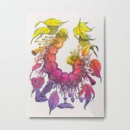 Caterpillar, Leaves and Mushrooms - Watercolor Illustration Metal Print