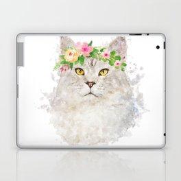Boho cat portrait with flower crown Laptop & iPad Skin