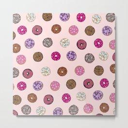 Artsy Pink Sprinkle Donuts Watercolor Pattern Metal Print