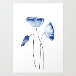 indigo poppy watercolor Art Print