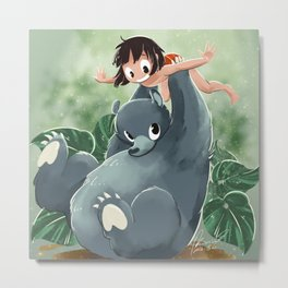 Mowgli and Baloo Metal Print