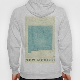 New Mexico State Map Blue Vintage Hoody