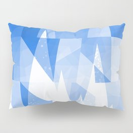 Abstract Blue Geometric Mountains Design Pillow Sham
