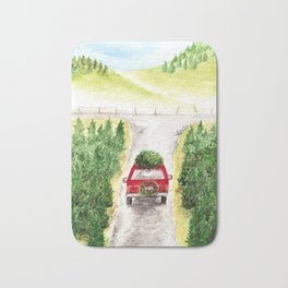 Christmas Tree Farm, Watercolor Art, Holiday, Winter Bath Mat