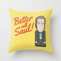 better call saul Throw Pillows featuring Better Call Saul by Big Purple Glasses