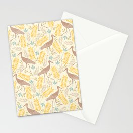 Vintage pastel brown yellow bohemian bird flowers Stationery Cards