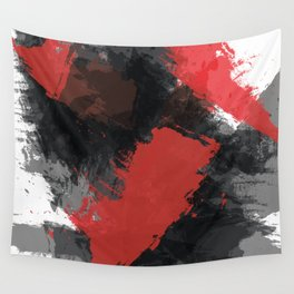 Red and Black Paint Splash Wall Tapestry