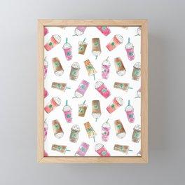 Coffee Crazy Toss in White Cream Framed Mini Art Print