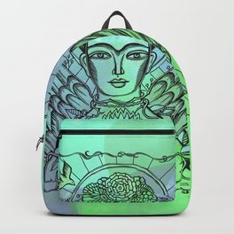 Frida Kahlo - monoprint-blue Backpack
