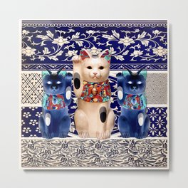 Maneki Neko (Lucky Cat) Trio I Metal Print