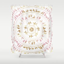 Kama Sutra Mandala Pink and Gold Shower Curtain