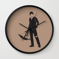 daryl dixon Wall Clocks featuring Daryl by the minimalist