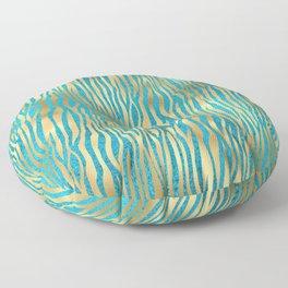 Beautiful Teal & Gold Animal Print Pattern Floor Pillow