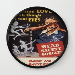 Vintage poster - Workplace safety Wall Clock