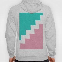 Mint & Pink dived by a white zigzag lines. Hoody