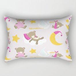 Stork Delivering Baby Bear, Sleeping Moon, Stars Rectangular Pillow