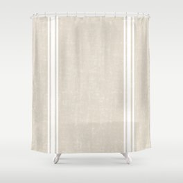 Vintage Country French Grainsack White Stripes Against Bone Color Background Shower Curtain