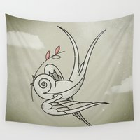 sparrow Wall Tapestries featuring Peace Sparrow by Vin Zzep