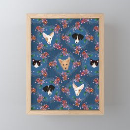 dogs and cat decorated Framed Mini Art Print