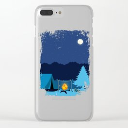 Camping Tent in Moonlight with Campfire Clear iPhone Case