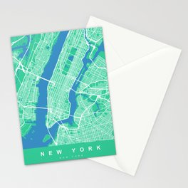 New York Map Print | Green II | More Colors, Review My Collections Stationery Cards