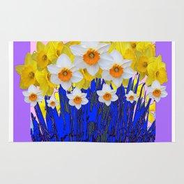 DECORATIVE YELLOW & WHITE DAFFODILS PURPLE BLUE ART Rug
