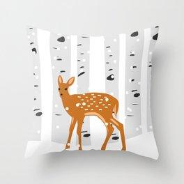Baby Deer in the snow Throw Pillow