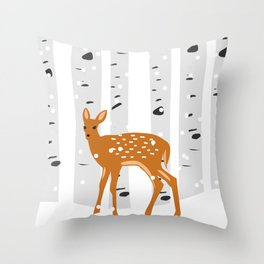 Baby Deer in the snow Throw Pillow