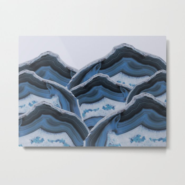 Agate Blue Mountains Metal Print