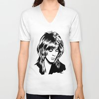 randy c V-neck T-shirts featuring Randy Rhoads by Laura Meg