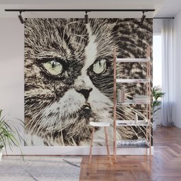 Painted angry looking persian cat head Wall Mural