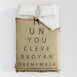 Run You Clever Boy - Doctor Who Inspired Vintage Eye Chart Comforters
