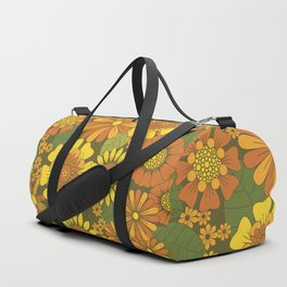 Orange, Brown, Yellow and Green Retro Daisy Pattern Duffle Bag